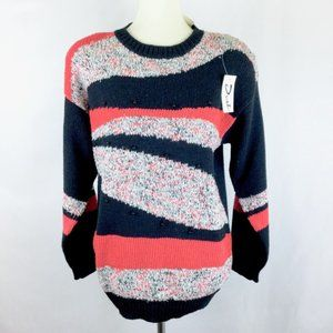 Vintage 1980s Sweater Abstract Colorblock Beaded